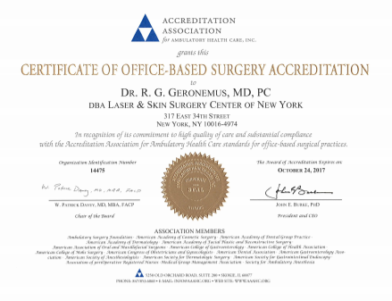 AAAHC certification - click to zoom
