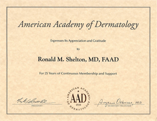 Dermatology News New York City - AAD Certificate for 25 years of continuous membership and support