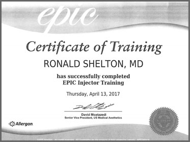 Cosmetic Dermatologist NYC Awards - Dr. Shelton was awarded the Certificate for Epic Trainier