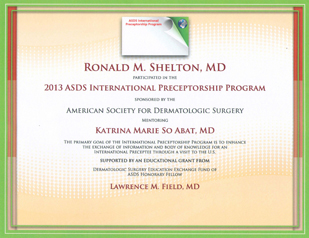 Dermatology News New York City - 2013 ASDS International Preceptorship Program