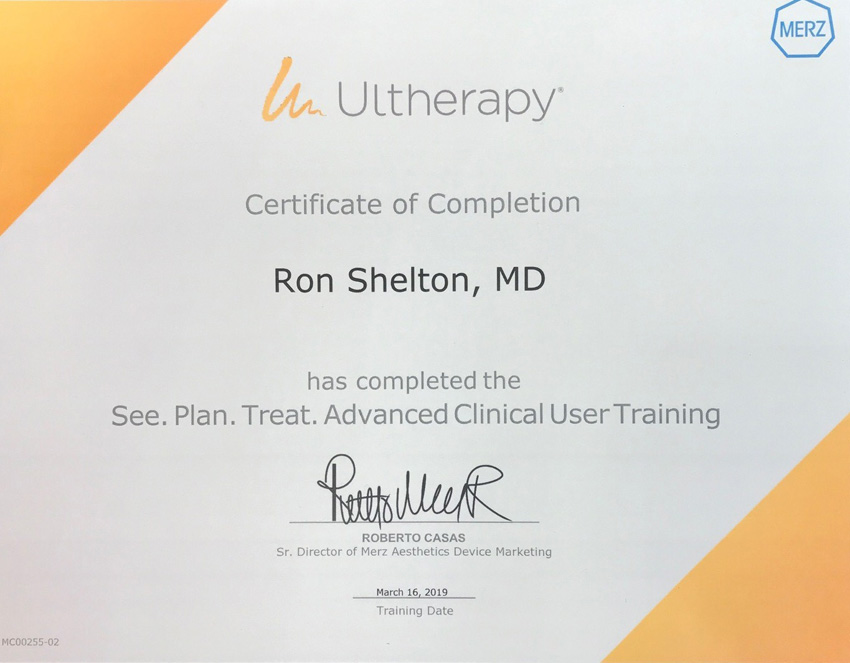 Dr Shelton was awarded the Ultherapy Certificate of Completion for attending the NYC Ultherapy Advanced Users Conference in March 2019